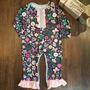 Pete + Lucy Floral Butterfly Ruffle Jumpsuit